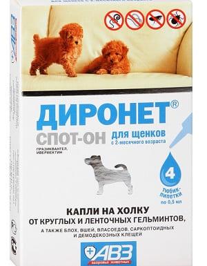 Капли Диронет спот он для лечения демодекоза у щенков
