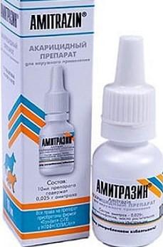 Раствор Амитразин от ушного клеща для собак