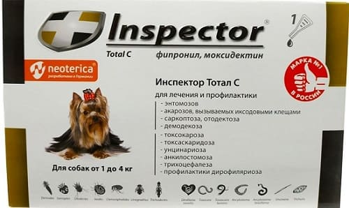 Капли на холку Инспектор Тотал С от ушных клещей для собак
