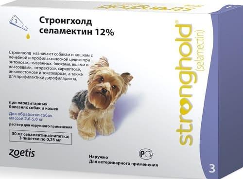 Капли на холку Стронгхолд от ушного клеща для собак