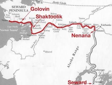 Тропа из Ненаны в Ном на карте